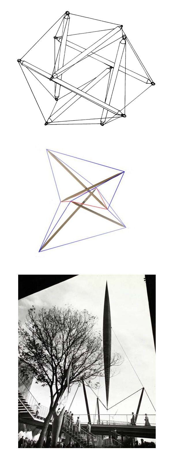 6 Strut Tensegrity Outlining An Octahedron Skylon Tower