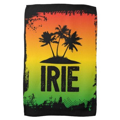 Jamaica Patwah Saying Irie Chill Out Relax Kitchen Towel - quote pun meme quotes diy custom