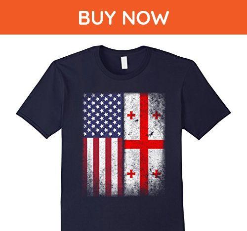 Mens American Georgian Flag T-shirt Georgia Republic Country XL Navy - Cities countries flags shirts (*Amazon Partner-Link)