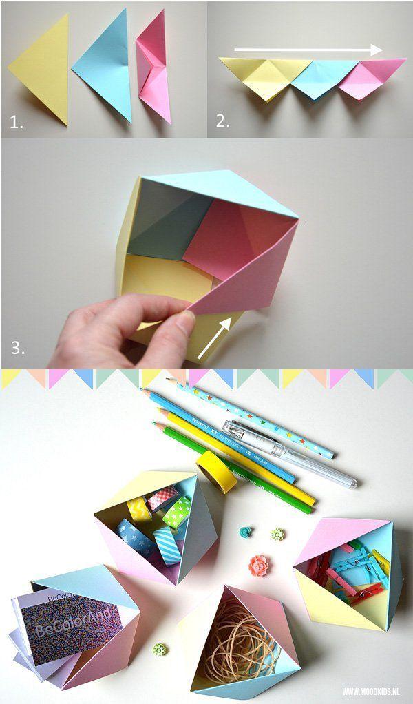geometrische doosjes vouwen. knutselen met papier. folding boxes.