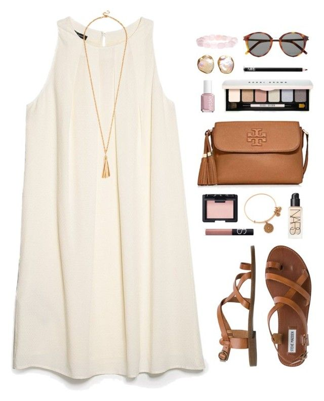 """""""pale colors"""" by classically-preppy ❤ liked on Polyvore featuring MANGO, Steve Madden, Tory Burch, Yves Saint Laurent, Essie, Bobbi Brown Cosmetics, NARS Cosmetics and Alex and Ani"""