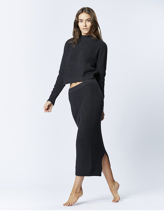 casa kuma - Nazca Knit Skirt Black