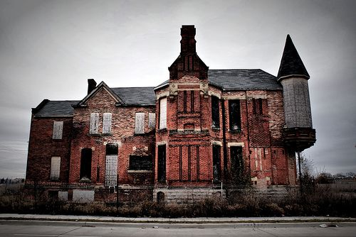 Ransom Gillis House in Brush Park, Detroit. This was once one of the grandest homes in Brush Park, which was a beautiful neighborhood in Detroit. Now most of the once proud homes in the area are abandoned.