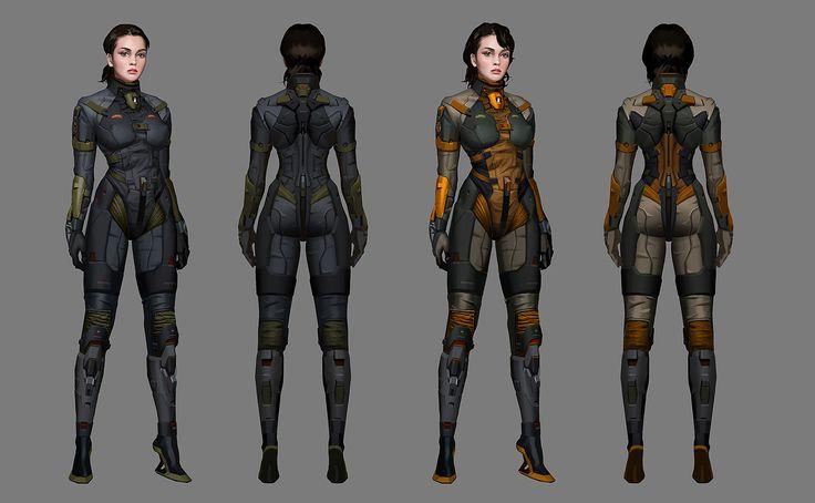 tight suit gal,  did for netease games. 2014, Bill Xu on ArtStation at https://www.artstation.com/artwork/V1av8