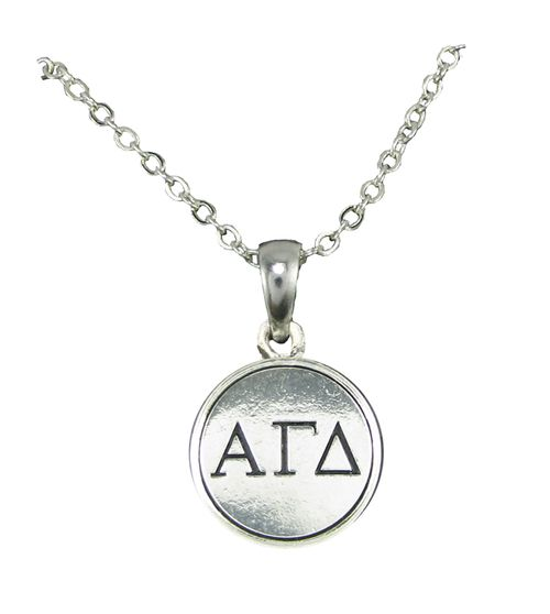 Alpha Gamma Delta Sorority Polished Circle Silver Chain Necklace Jewelry Rush