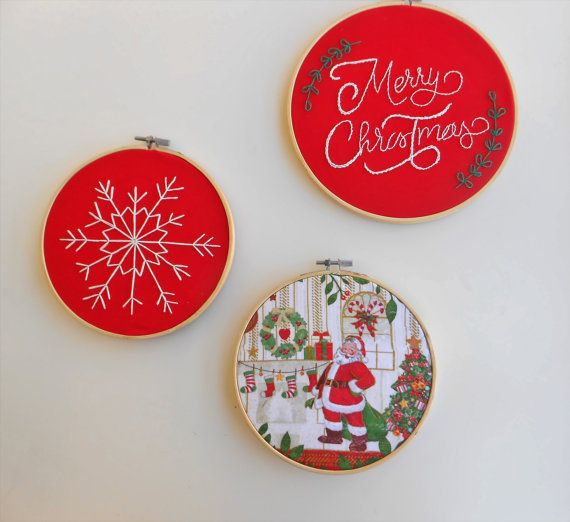 Merry Christmas embroidery hoop art decoration Home decor Modern embroidery design Red white set of three holiday decor hostess gift idea