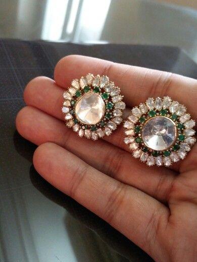 Bold n Big Polki Diamond Gold studs @ Umrao Jewels