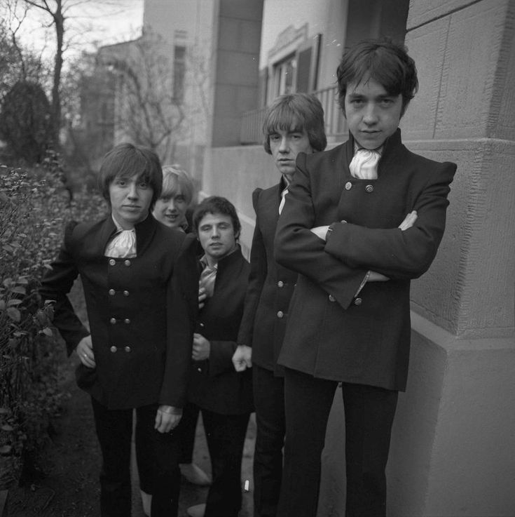 Left to right: Stevie Wright, Harry Vanda, Henry 'Snowy' Fleet, Dick Diamonde and George Young of The Easybeats pose for a group portrait in Germany in 1967