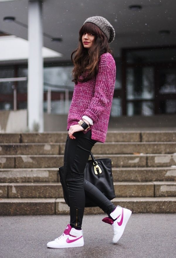 Try pairing a purple oversized sweater with black leather leggings to create a great weekend-ready look. Finish off your look with white leather high top sneakers.   Shop this look on Lookastic: https://lookastic.com/women/looks/oversized-sweater-leggings-high-top-sneakers/14230   — Grey Beanie  — Purple Oversized Sweater  — Black Studded Leather Bracelet  — Black Leather Leggings  — Black Leather Tote Bag  — White Leather High Top Sneakers
