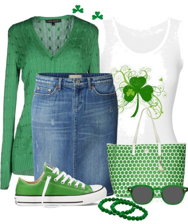 Casual Tank Top with cardigan and denim skirt st patrick's day outfit