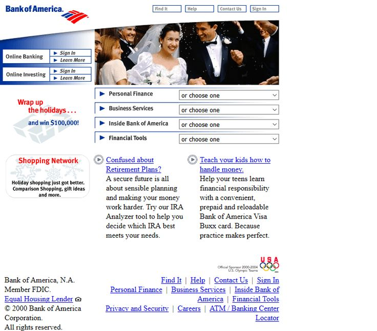 Bank of America website in 2000