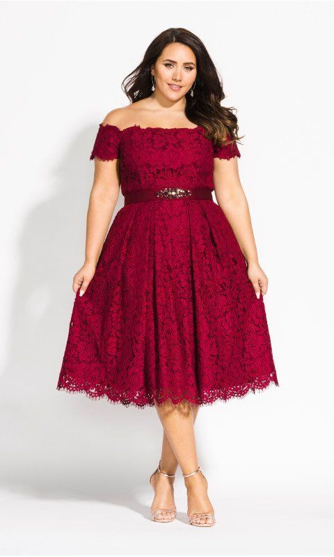 Plus Size Fashion for Women Over 40- Lace Dreams Dress at City Chic #cocktaildre…