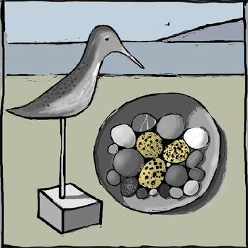 Eggs hidden on the beach, still life, Digital art, iPad Painting. Kathy Lewis