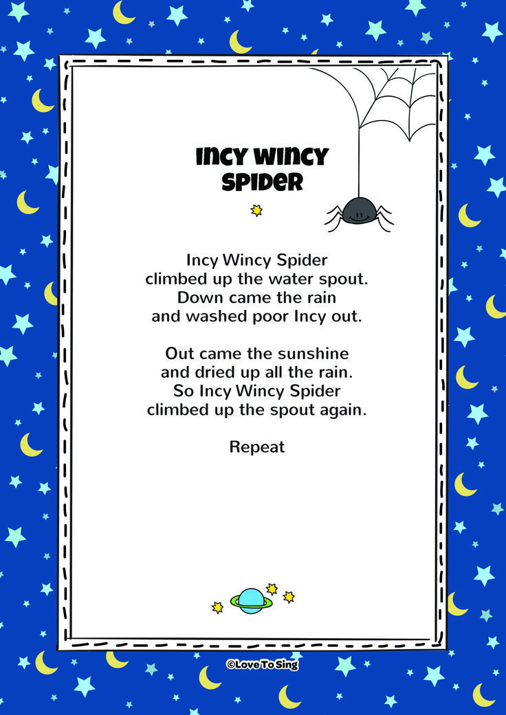 """Download this popular kids video song """"Incy Wincy Spider"""" With FREE lyrics & fun activities. On YouTube or listen on itunes or Spotify"""