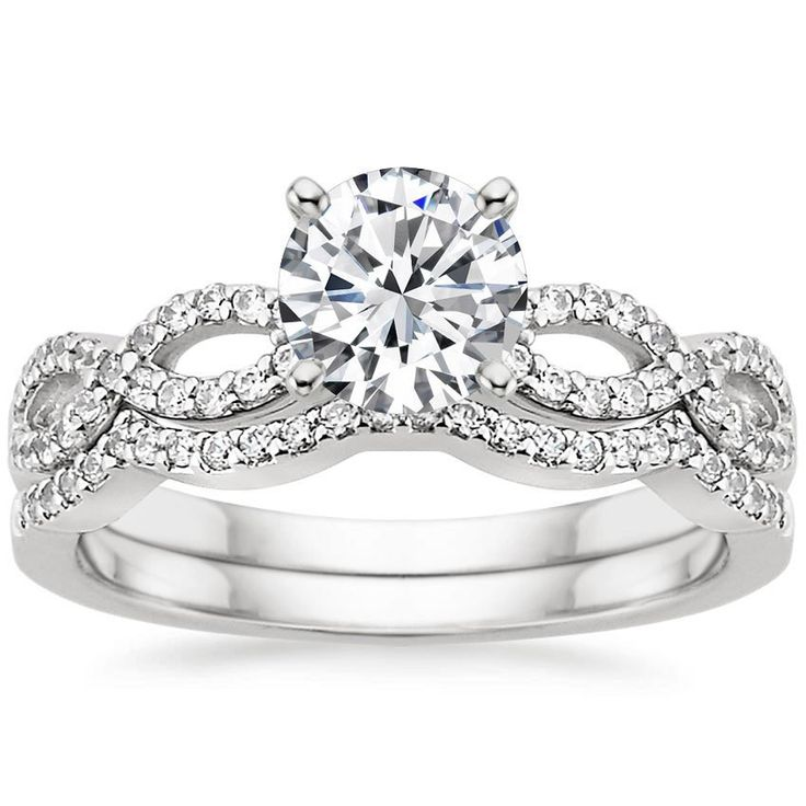 I Like How The Band Fits Into Engagement White Gold Infinity Diamond Ring Matched Set Ct From Brilliant Earth