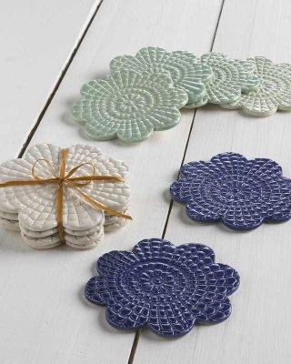 Harvest Moon Coasters (set of 4) [LP019] - $48.00 : Maggie Weldon, Lace Pottery Ornamental Bowls