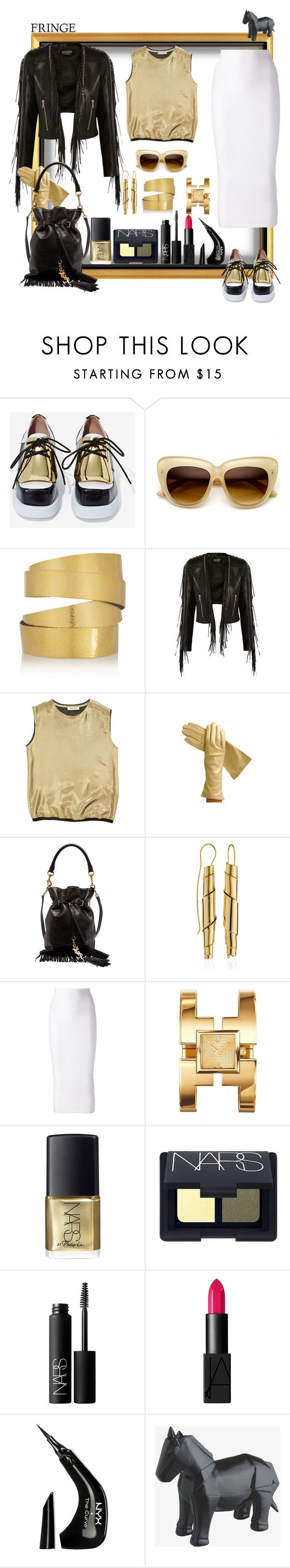 """Can you help me? It might be a bit difficult to get on the saddle!"" by ritva-harjula ❤ liked on Polyvore featuring Jeffrey Campbell, Hervé Van Der Straeten, Balmain, Organic by John Patrick, Yves Saint Laurent, Oblik Atelier, Cushnie Et Ochs, Tory Burch, NARS Cosmetics and NYX"