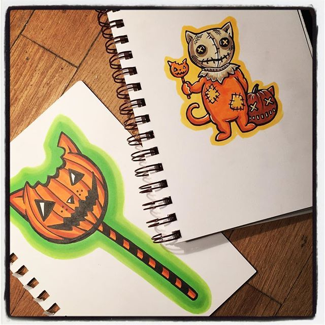 Todays theme for #oodlesofdoodleschallengefeb is #LOLLIPOP! I decided I would take the opportunity to #draw another #Horror #Cat! This one is #Sam from the movie #trickrtreat which is a really fun #Halloween #movie with several #spooky stories tied together. And little Sam is #adorable as a #cat with #candy. Plus a bonus drawing of just the #pumpkin #sucker!