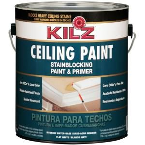 Kilz 1 Gal White Flat Interior Stainblocking Ceiling Paint And Primer 68101 At The Home Depot