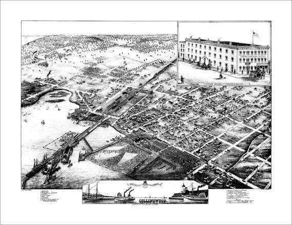 """Collingwood Ontario in 1875 Panoramic Bird's Eye View Map by Herman Brosius 22x17"""" Reproduction"""