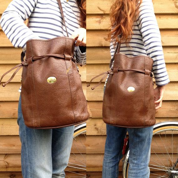French vtg MAC DOUGLAS Brown Leather bucket bag by laminuinette