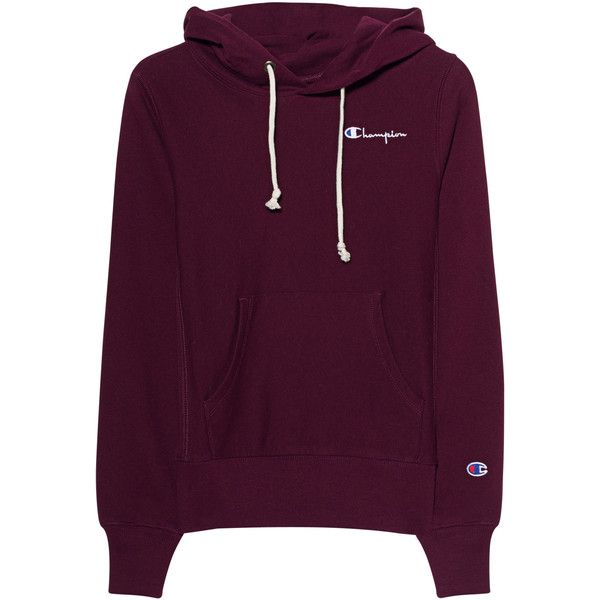 Champion Classic Mini Logo Bordeaux // Hoodie with logo embroidery ($125) ❤ liked on Polyvore featuring tops, hoodies, slim fit hoodie, embroidered hoodies, hooded hoodie, logo hoodie and purple hoodies