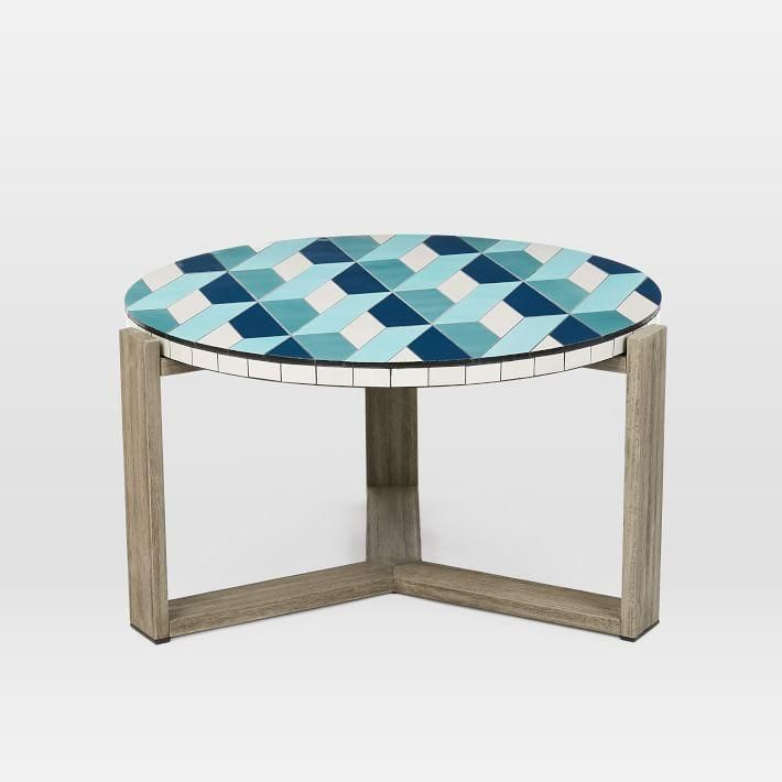 Blue Mosaic Tiled Weathered Gray Outdoor Coffee Table Tiled Coffee Table Coffee Table 3d Coffee Table