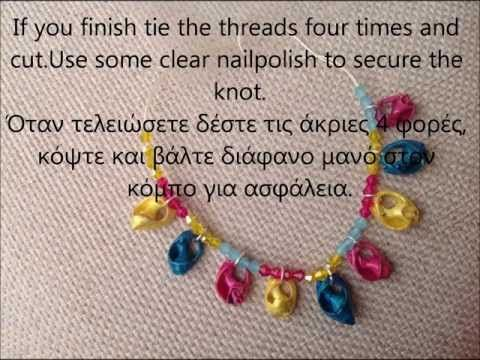 Painted sea shell bracelet tutorial with crystals, Πως να φτιάξετε βραχιόλι με κοχύλια
