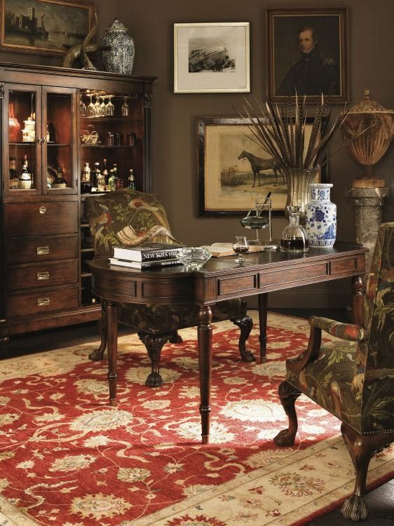 Country Estate - masculine home office décor , khaki colored walls, greens, browns, touch of rust-red ...