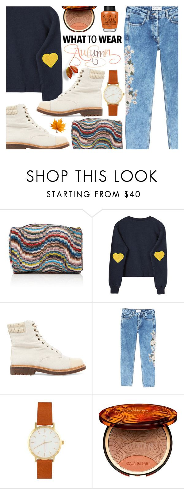 """🍂Autumn"" by ana3blue on Polyvore featuring Missoni, Robert Clergerie, MANGO, Clarins and OPI"