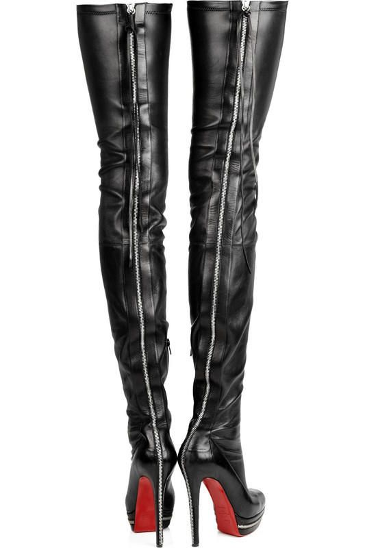 Christian Louboutin Black Leather Over the Knee Round Toe Boots with Zip-up