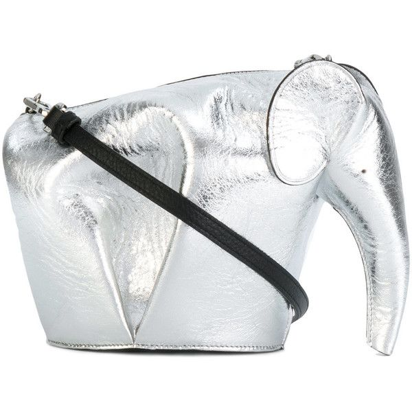Loewe 'Elephant' mini bag (€1.020) ❤ liked on Polyvore featuring bags, handbags, shoulder bags, grey, mini purse, grey shoulder bag, grey leather shoulder bag, genuine leather shoulder bag and grey purse