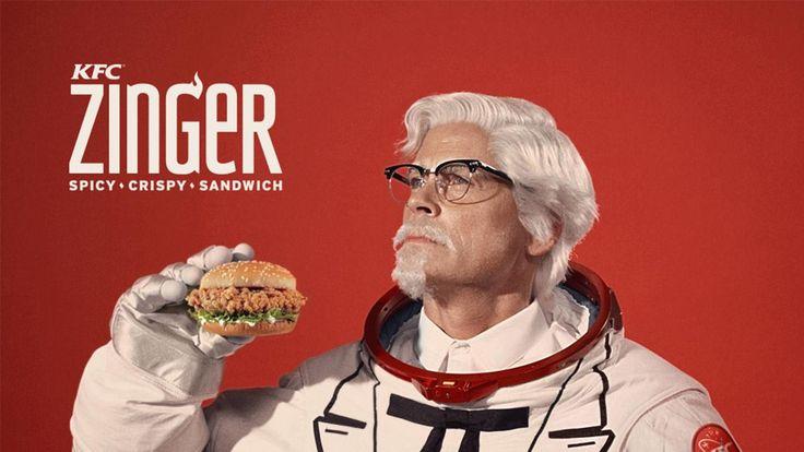 KFC представила нового полковника Сандерса и собирается запустить куриный бургер в космос  http://srt.ru/news-blog/kfc-sobiraetsya-zapustit-kurinyj-burger-v-kosmos/  Зингер, пряный, хрустящий панированный бургер с курицей, который дебютировал в США 24 апреля, уже успел завоевать популярность и стал самым продаваемым сэндвичем на международных рынках KFC.Для продвижения нового блюда, бренд нанял актера Роба Лоу на роль знаменитого полковника Сандерса – ресторатора и основателя сети быстрого…
