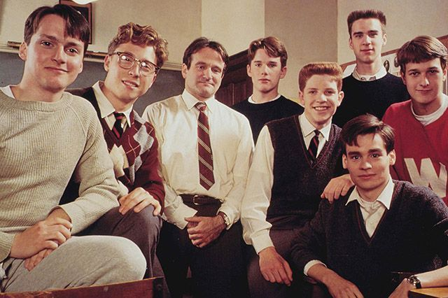 Dead Poets Society (1989)Assuming that the gory Saturday Night Live parody didn't ruin it for you, expect major emotions from this drama about a teacher who changes the lives of his students forever thanks to Walt Whitman. Pictured: Robin Williams stars alongside Robert Sean Leonard, Ethan Hawke, and Josh Charles #refinery29 http://www.refinery29.com/2015/01/80684/best-sad-movies#slide-18