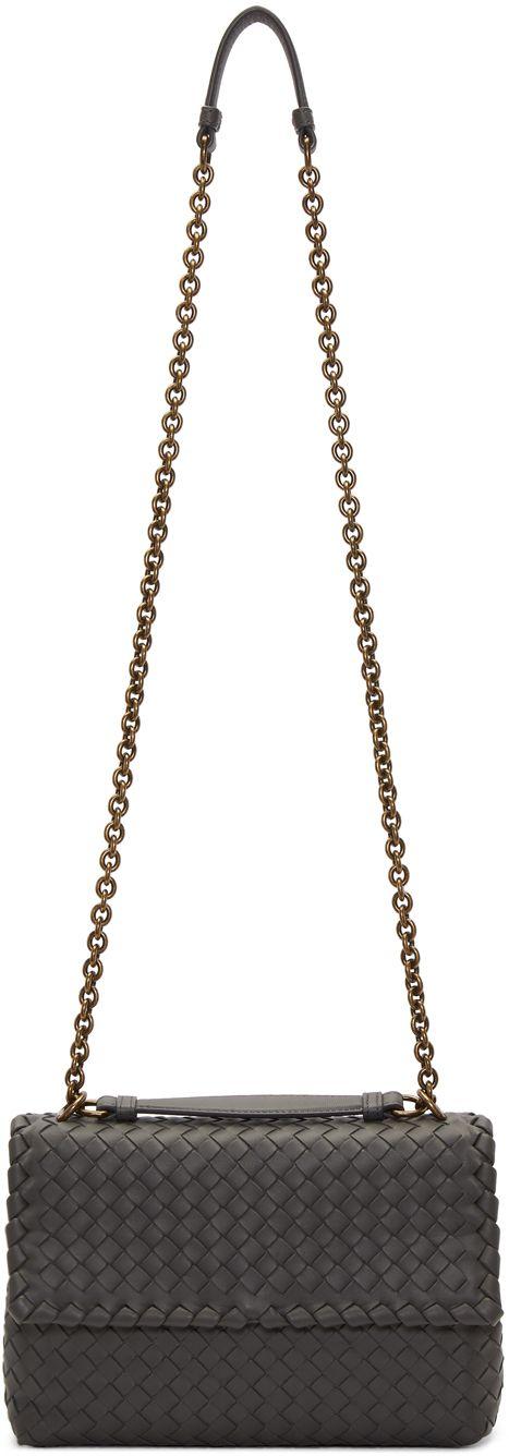 Bottega Veneta Grey Small Intrecciato Olimpia Chain Bag