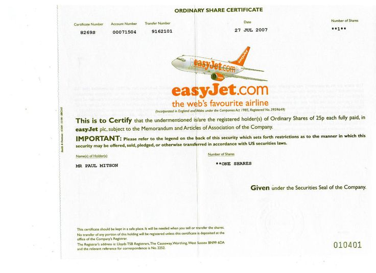 easyJet.com - Aktie - 25 p - England 2007