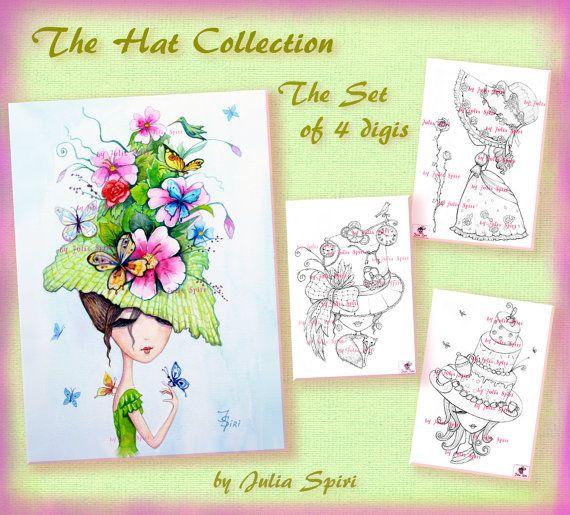 Set of 4 Digital Stamps Digi Coloring Hat stamps by JuliaSpiri
