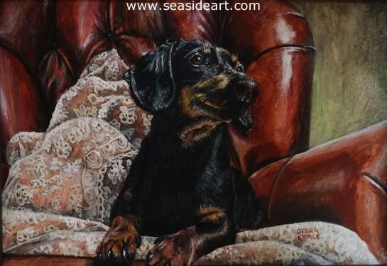 Leather And Lace Pet Portraits Dog Paintings Seaside Art