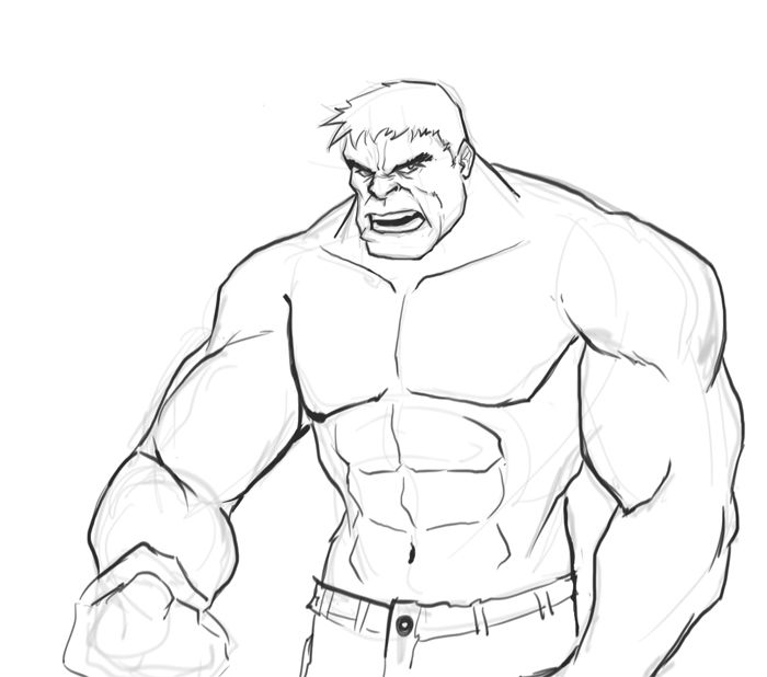 hulk drawing drawings cartoon easy draw marvel superhero sketches random kid step superheroes comics anatomy character learn ausmalbilder stuff pencil