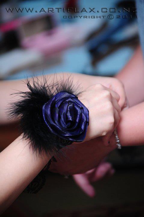 Black and Purple flax flower wrist corsage