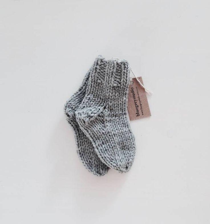 Soft wool baby socks, warm cute and cozy socks for newborn, knit bay warm socks. by bluegreystudio on Etsy