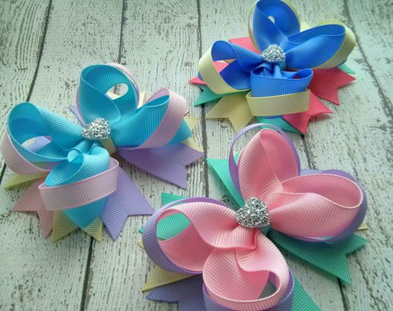 Items similar to Girls Hair Bow - Easter Boutique Hair Bow - Toddler Hair Bow - Spring Hair Bow - Gift for Girls - Pastel Bow with Sparkly Heart on Etsy