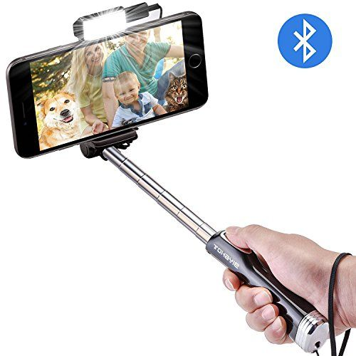 From 16.99 Selfie Stick Tohayie Bluetooth Selfie Stick With Built-in Remote Shutter Led Brightening Light And Mirror For Iphone X/8/7/6s/6/6 Plussamsung S7/s6/s5 Android And Most Mobile Phones (black)