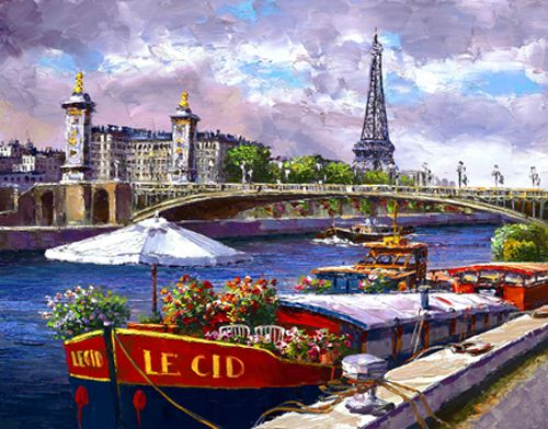 """S. Sam Park Limited Edition Hand Embellished Giclee on Canvas:""""Along the Seine"""""""
