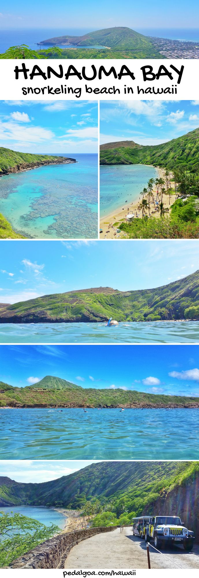 Hanauma Bay - Best beaches for snorkeling in Oahu. These are some Hawaii travel tips. For US beaches in Oahu Hawaii, there are activities like swimming and snorkeling with turtles and fish! Best Oahu beaches give you things to do with nearby hiking trails, food, and shopping. USA travel destinations for bucket list for world adventures when on a budget! So outside of Waikiki and Honolulu, put on the Hawaii itinerary! Add snorkeling gear to Hawaii packing list and what to wear in Hawaii.