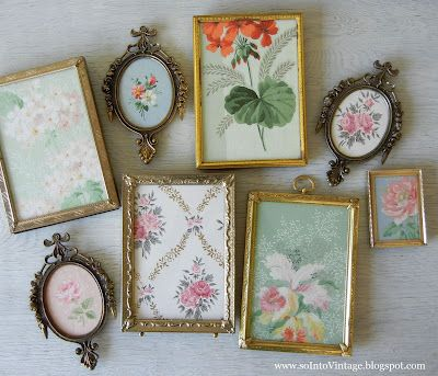 """Old/New brass frames + """"vintage"""" wallpaper samples -or- scrapbook paper(s) = great for jewelry displays!!"""