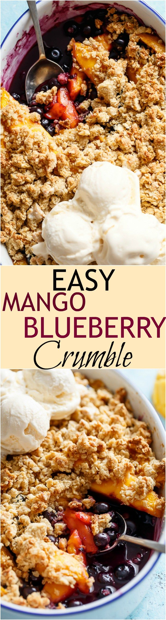 A classic and Easy Mango Blueberry Crumble with the crispy, buttery topping that's lighter in calories and BIG on flavour!   http://cafedelites.com