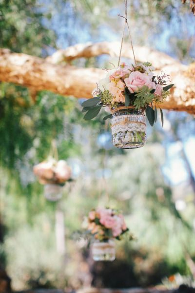 Hanging mason jars: http://www.stylemepretty.com/california-weddings/carlsbad/2015/05/16/rustic-carlsbad-ranch-wedding/ | Photography: Zelo - http://zelophotoblog.com/