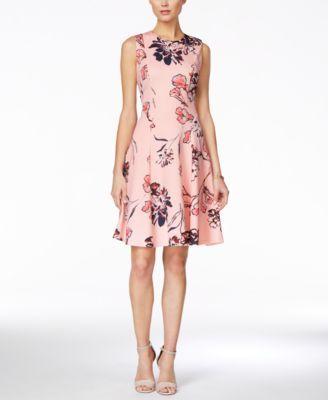 Ivanka Trump Sleeveless Floral-Print Fit & Flare Dress | macys.com