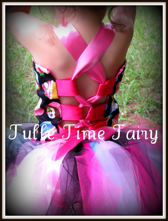 Custom Cupcake TUTU Birthday party dress 12m 18 2t 3t by Tulletime,